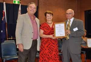 Pauline and John Cassar receiving the Certificate from Prof Stephen Gatt