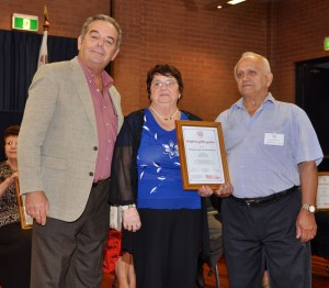 Frances and Jim Fitzpatrick receiving the Certificate from Prof Stephen Gatt