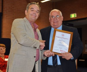 Charles Muscat receiving the Certificate from Prof Gatt